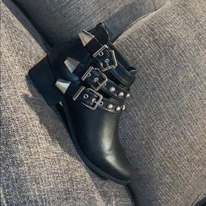Black Leather Buckle Booties